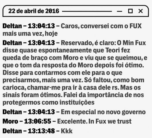 1560397829 47 Moro e Dallagnol citam apoio de Luiz Fux em novo diálogo vazado Moro e Dallagnol citam escora de Luiz Fux em novo diálogo vazado